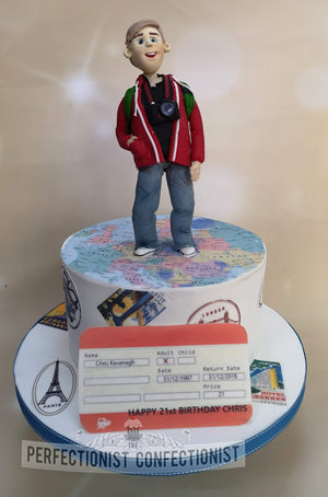 Travel cake  back packer cake  back packer cake topper  maps  train ticket  interrailing  cake  dublin  birthday  21st  sworsds  malahide  kinsealy   %284%29