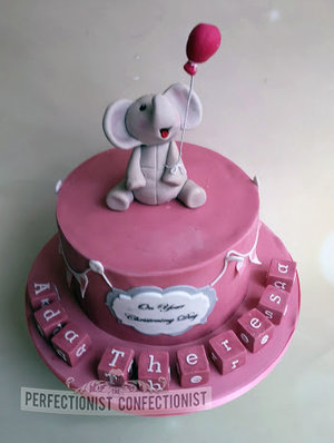 Christening cake  naming day cake  elephant  blocks  pink  sutton  swords  dublin  malahide  kinsealy  balloon  pretty  little girl  %283%29