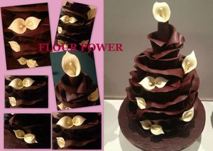 Chocolate wrap wedding cake edible flowers lilly