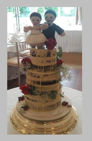 Three tier naked wedding cake fresh flowers handmade cakeytopper