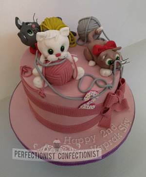 Kittens  cats  playing  wool  birthday cake  birthday  cake  bows  swords  dublin  malahide  kinsealy  portmarnock  howth  novelty  2nd %289%29