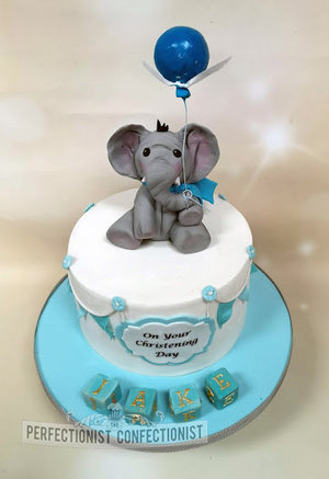 Elephant  blocks  balloon  christening cake  naming day cake  cake  christening  dublin  swords  malahide  blue  boy  sweet  cute %281%29