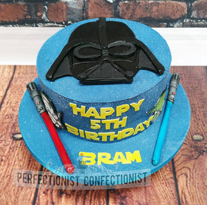 Chocolate fudge cake  5th birthday  star wars  cake  darth vadar  fun galaxy  swords  malahide  kinsealy  dublin  light sabres %281%29