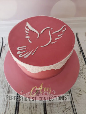 Confirmation cake  confirmation  cake  pink  zesty lemon  dublin  swords  malahide  kinsealy  french rose  dove %281%29