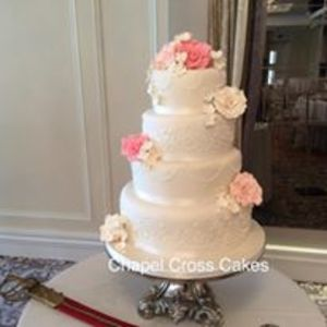 Classic Cake with Royal Icing Lace & Hand Made Sugar Flowers