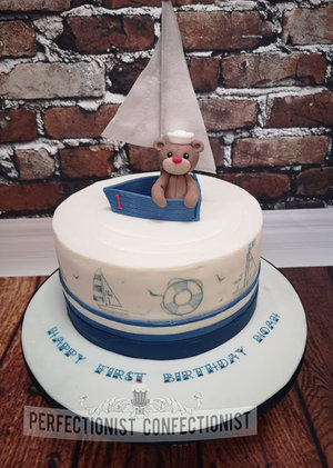 First  birthday  cake  1st  naming day  christening day  cake maker  dublin  swords  malahide  kinsealy  drynam  sailboat  teddy  sailing   %281%29