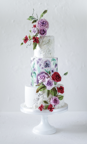 wedding cake, sugar flowers, bas relief, silver leaf, handpainted