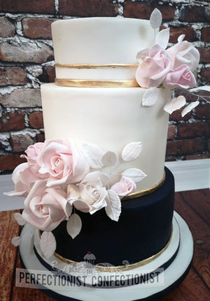 Wedding cake  elegant  classy  gold  navy  white  blush  roses  sugar  portmarnock hotel  handmade  cake maker  dublin  swords  malahide  vanilla  fruit   %2811%29
