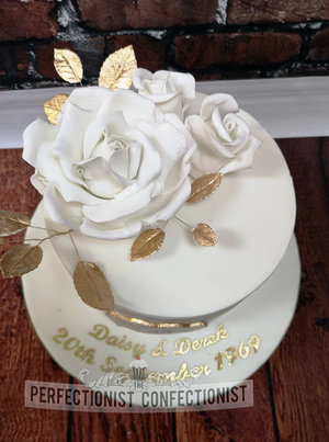 Golden wedding   anniverary  cake  50 years  grand hotel  malahide  kinsealy  dublin  swords  roses  elegant  gold  wedding  cake maker%2814%29