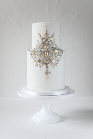 wedding cake, couture wedding cake, gemstones, edible gems