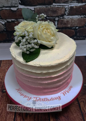 Pink ombre  roses  flowers  birthday cake  birthday  cake  buttercream  pretty  dublin  swords  malahide  kinsealy  cake maker  wicklow   %281%29