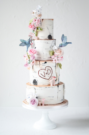 wedding cake, birch tree effect, sugar flowers, edible flowers, whimsical wedding cake