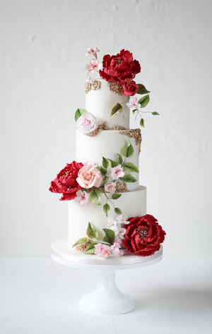 wedding cake, sugar flowers, elegant