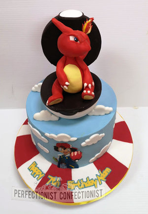 Pokemon  birthday  cake  charmeleon cake topper  ash  pokeball  dublin  cake maker  swords  malahide  kinsealy  novelty  celebration %283%29