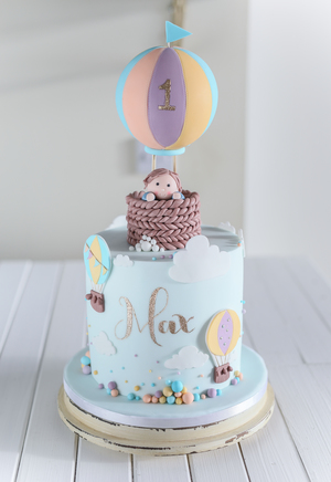 birthday cake, cake for boys, hot air balloon, character topper