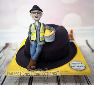 Birthday  cake  cake maker  construction  hard hat  trilby  fedora  locks  london  hat  celebration  swords  malahide  kinsealy  dublin %282%29