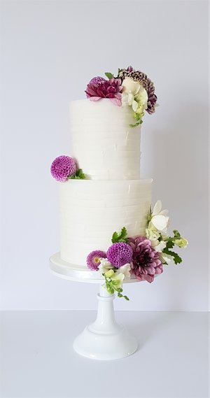 Lilac and Torn Paper Wedding Cake