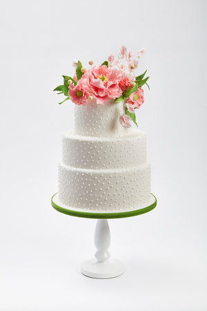 Pink and Pearls Wedding Cake