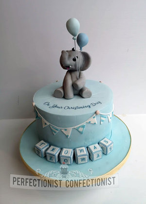 Elephant  balloons  blocks  blue  birthday  first  christening  naming day  cake  christening cake  cake topper  cake maker  dublin  swords  %284%29