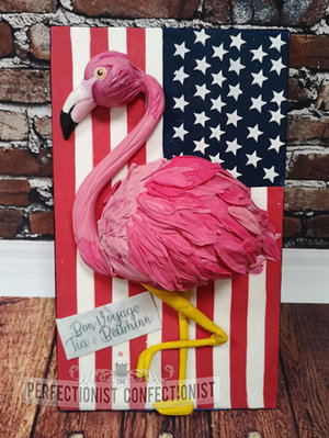 Flamingo  fmingo  birthday cake  bon voyage  cake  usa  flag  american  chocoalte biscuit  novelty  celebration  bray  dublin  swords  malahide  kinsealy   %286%29