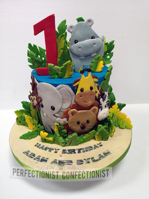 Safari  jungle  animals cute  baby  first birthday  1st  birthday  cake  cake toppers  hippo  giraffe  elephant  lion  zebra  monkey  dublin  swords  malahide %28 %289%29