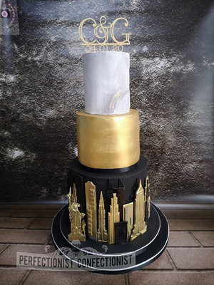 Cliff at lyons  lyons estate  wedding cake  black  gold  marble  elegant  new york  nyc  wedding  cake  skyline  cake topper  cake maker  dublin  swords  %285%29