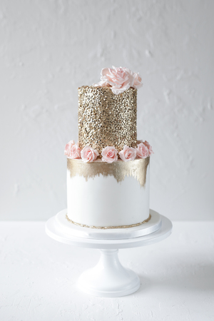 birthday cake, cake for girls, gold, gold sequins, sugar flowers