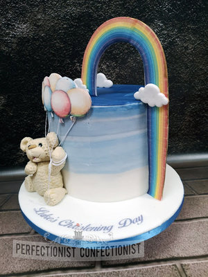 Blue ombre  fade  teddy  rainbow baby  rainbow  teddy  cake  christening  naming day  balloons  dublin  swords  malahide  cake maker  rainbow %283%29