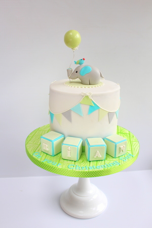 "Elephant with Balloon Christening Cake (6"" from €120)"