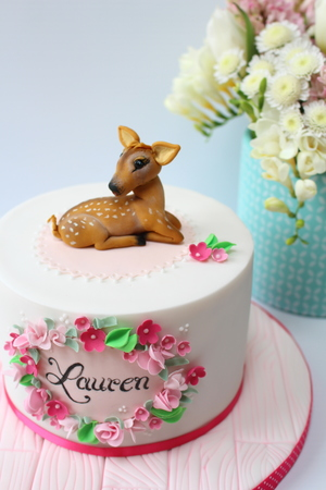 "Pretty in Pink Fawn (Babydeer) Christening cake (6"" from €120)"