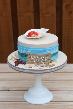 "Seaside themed Lobster Baby Christening Cake (6"" from €120)"